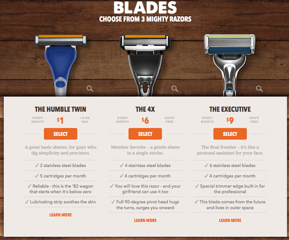 Dollar Shave Club Pricing Options