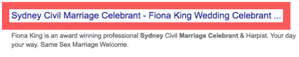 Example of Sydney Wedding Celebrant Page Title