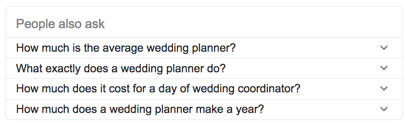 Google's 'People Also Ask' section for Wedding Planners