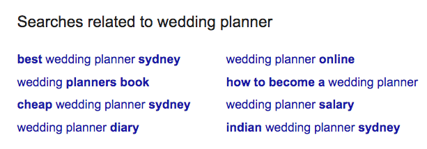 SEO Searches related to Wedding Planner