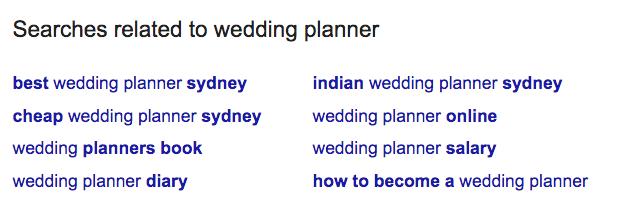 Wedding Planner LSI Keywords