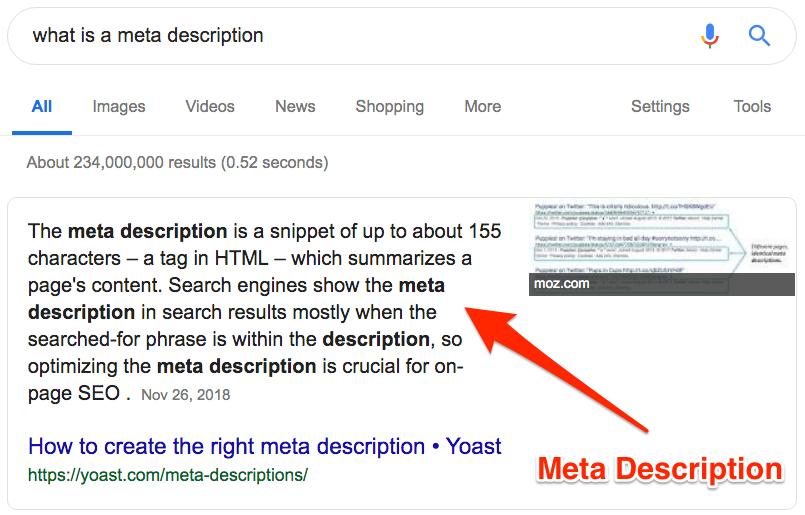 Example of Meta Description on Google SERP